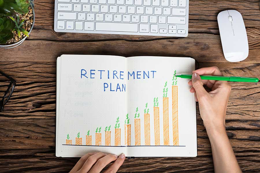 Keyboard, mouse and pad with retirement planning written in it