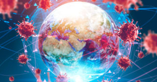 Asian flu ncov coronavirus over Earth background and its blurry hologram. Concept of cure search and spreading disease. 3d rendering toned image. Elements of this image furnished by NASA